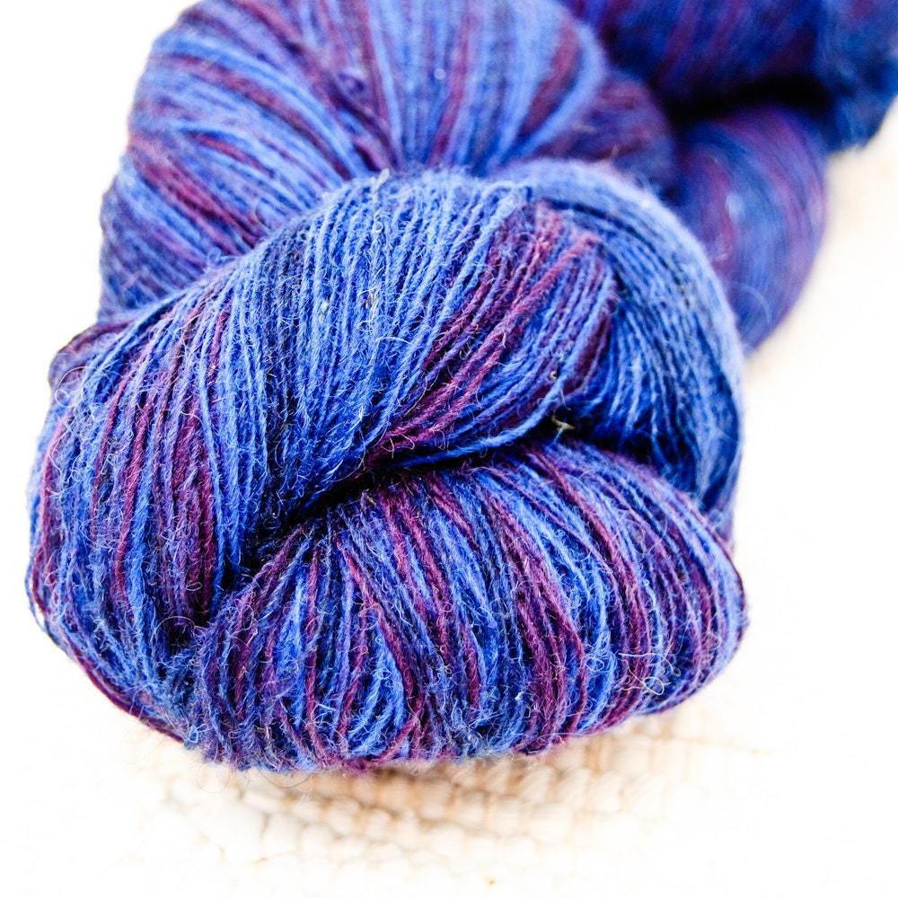 ply Lace Weight Kauni Wool Yarn Navy Blue Purple FREE by Kauni