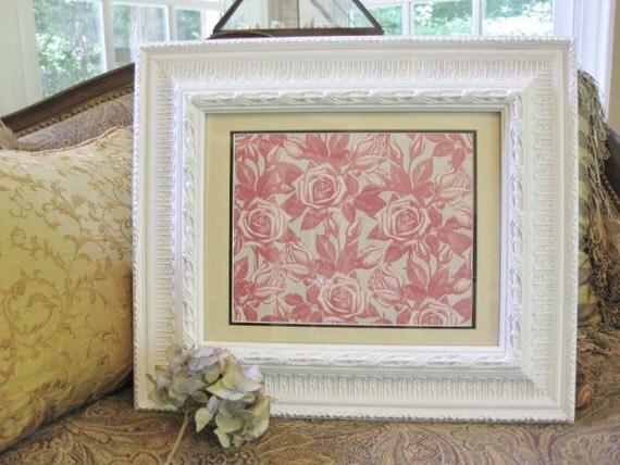 """SHABBY WHITE Framed Print 11""""x14"""" ROSES"""