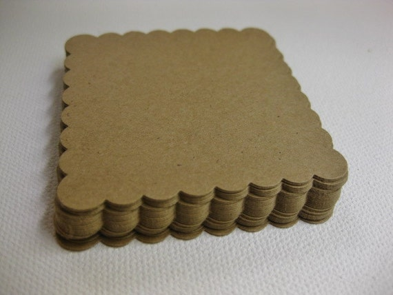 30 Die cut KRAFT Scalloped Square TAGS