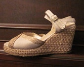 Espadrille Tan Wedges, Size 6.5