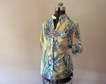 Green, Yellow, White Polyester Patterned Shirt, Plus Size
