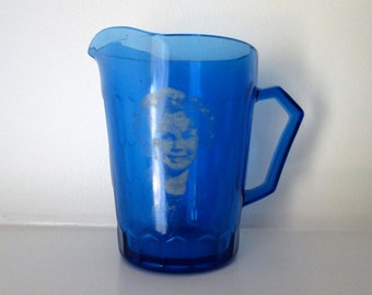 Blue Glass Shirley Temple Pitcher