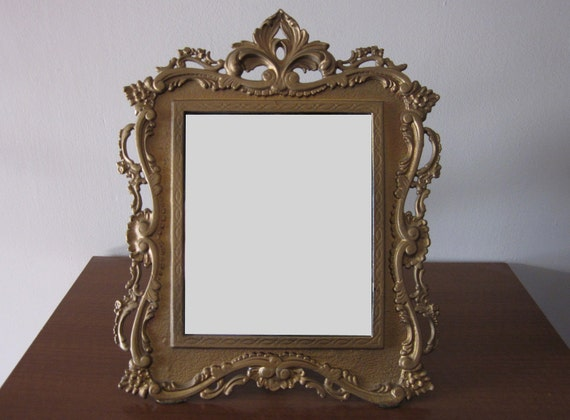 RESERVED for Sara: Iron Gold Mirror with Stand-up Arm