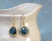 Navy Blue Crystal Earrings. Gold or Silver Bezel Setting. Framed and Faceted Crystal Earrings. More Options.