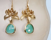 Lotus flower earrings. Gold and aqua earrings with framed crystal drop weddings bridal