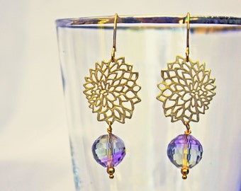 Provence flower earrings with Ametrine faceted drop