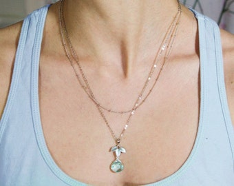 Malka necklace. silver with leaves and a mystic aqua quartz teardropmulti strand chain necklace