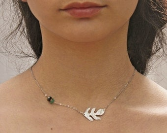 Oak leaf necklace in silver with two blue and turquoise beads chain necklace