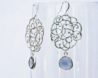 Pollock earrings in silver with black diamond colored framed briolette.  prom graduation