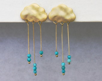 Rain Cloud Earrings. English Rain Cloud Earrings. Stud Post Gold Earrings With Tiny Dangling Turquoise Rondelle Rain.