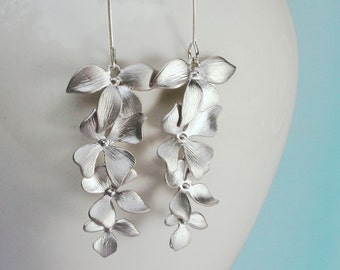 Flower Earrings. Wild Orchid Flower Cascade Earrings in Silver or Gold. Four Orchids on a Long Earwire. Bridal Jewelry.