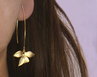 Flower Earrings.  Wild Orchid. Solo Flower Earrings in Gold or Silver. Single Orchid on A Long Earwire.