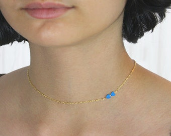 Dangling Karats. Two Hearts Necklace. Tiny Turquoise Hearts on a Gold Filled or Sterling Silver Chain. Asymmetrical Minimalist Necklace.
