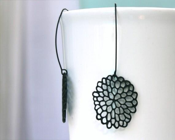 Mod black dahlia flower earrings