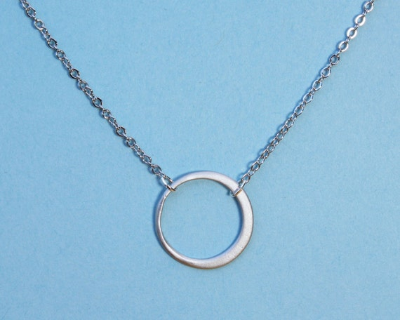 Circle Eternity Necklace with silver hoop ring valentines day chain necklace