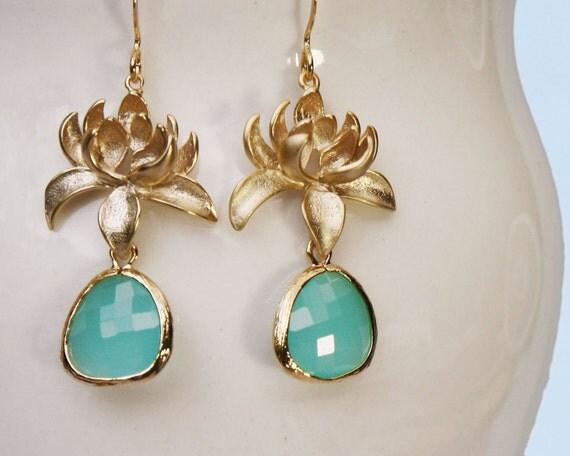 lotus flower earrings gold and aqua earrings with framed