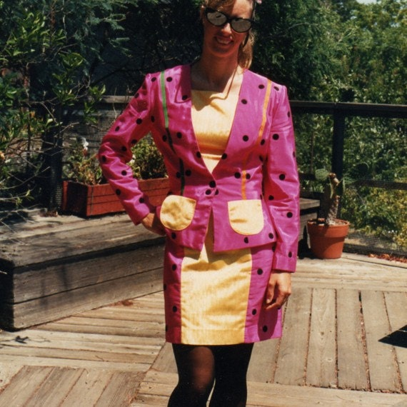 Dress and Matching Jacket Pink Moire Taffeta Black Dot Yellow Accents