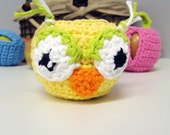 Owl Face Crochet Apple Cozy - Ready To Ship