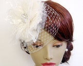 Blushing Bride Fascinator and Birdcage Veil : F087 made to order, white, ivory, champagne
