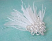 Fireworks Ostrich Feather Fascinator with Ribbon Flourish Brooch : F089 made to order, white, ivory, black