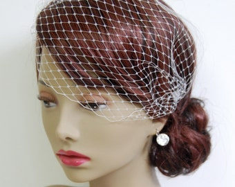 """Small (12"""") Bandeau Birdcage Veil : V002 made to order, white, ivory, champagne, or black"""