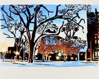 Princeton Winter III - Original Hand Printed and Watercolor Block Print