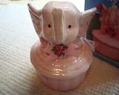 Vintage Pretty Pink Elephant Jewelry Minder