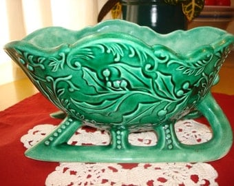Florist Vintage Ceramic Holiday Sleigh Planter