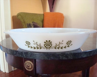Vintage Glasbake Divided Serving Bowl Dish with Avocado Green Flowers