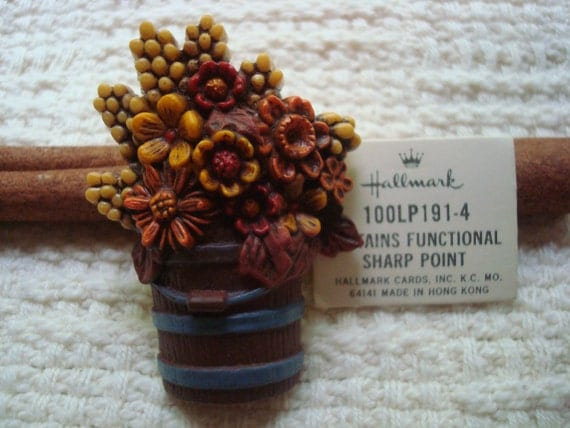 Fall Bucket of Flowers Vintage Brooch