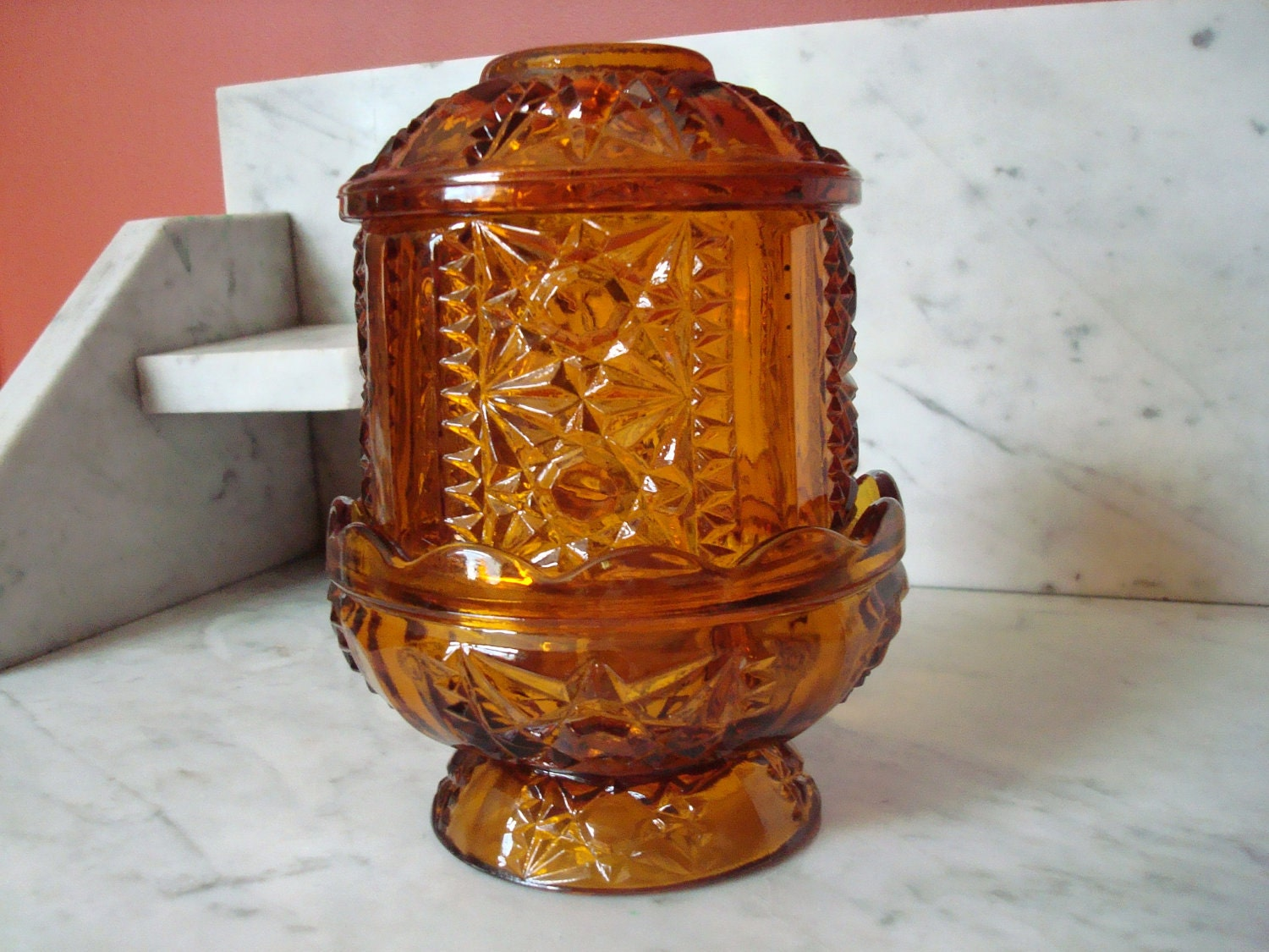 Vintage Indiana Glass Fairy Lamp In Amber