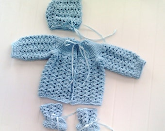 Welcome Home Crochet Baby Sweater and Hat Set with Booties - Item CBJ029