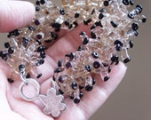 FREE SHIPPING Coral Glow 34 Coral Handmade Lampwork Beads Amethyst Transparent Black Dot For Her Mothers Day