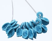 10 Turquoise Mediterranean Handmade Lampwork Leave Silver Chain Gift for Her Under 20 Summer Fashion
