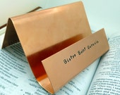 Hand Stamped Copper Business Card Holder , Desk & Office Decor, Graduation Gift,  , Anniversary gift for man Art