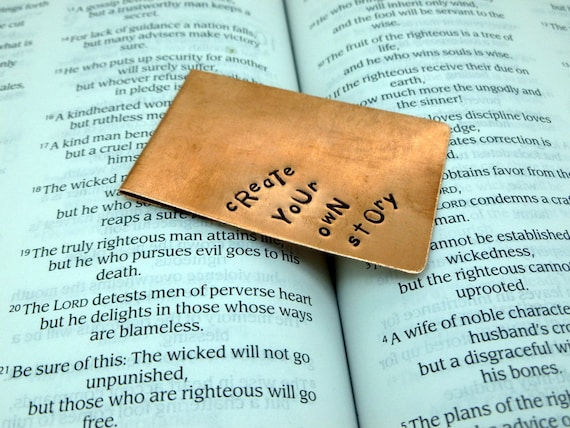 Personalized Bookmark , Create Your Own Story , Hand Stamped Metal Bookmark  , Anniversary gift for man Art
