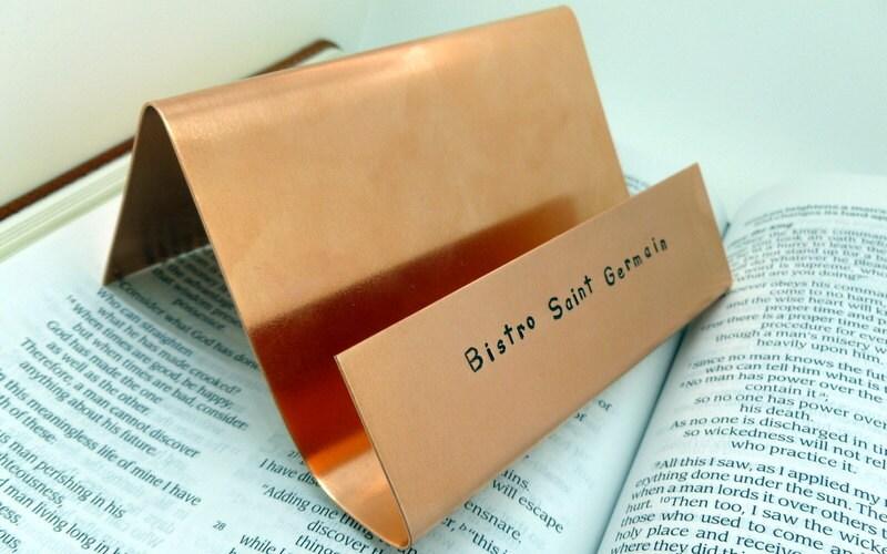 Hand Stamped Copper Business Card Holder Desk Office Decor