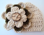 Crochet Baby Beanie in Beige Ivory and Green with Detachable Flower Clip