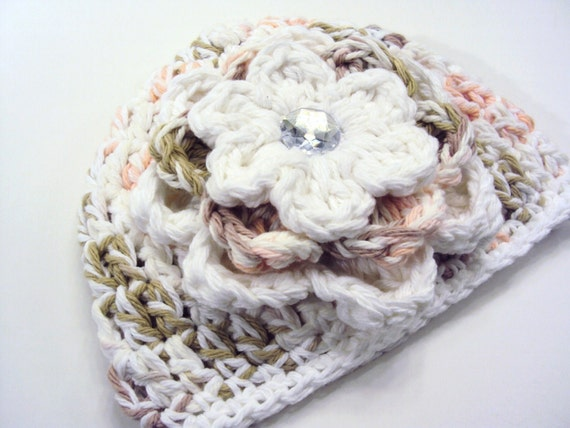 Crochet  Baby Girl Beanie Hat/  White and Pink/ Eco-friendly Pure Cotton/ Listing 3-6 months/ Children Clothing/ Made to Order