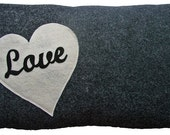 """LOVE PILLOW - recycled charcoal and white heart cushion 20""""x12"""""""