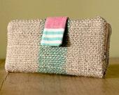 Reclaimed coffee sack jute burlap wallet
