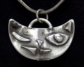 Winky Kitty- hand forged 3D sterling silver cat face pendant with sterling silver chain - ships free