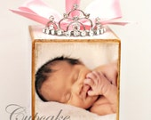 No.10 Personalized Pink Princess Tiara Birth Announcement Photo Baby Block Ornament Shower Gift Girl Nursery Decor