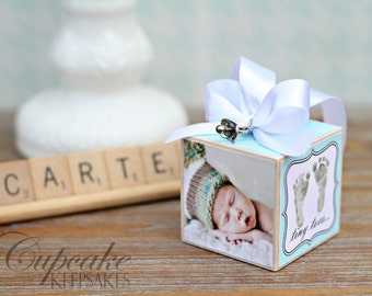 No.8 Modern Vintage Inspired New Baby Boy Personalized Photo Block Ornament Gift
