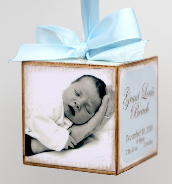 No.11 Personalized Photo Baby Block First Birth Announcement Gift Boy