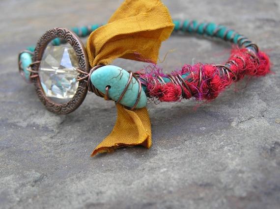 Reserved for Mary Estelle - Sari Silk Bracelet, Fair Trade Jewelry, Turquoise Bangle Bracelet (21)