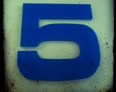 Blue Number Five Sign 5x5 Photography Print