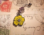 Belly Button Ring Yellow Hibiscus Flower Charm