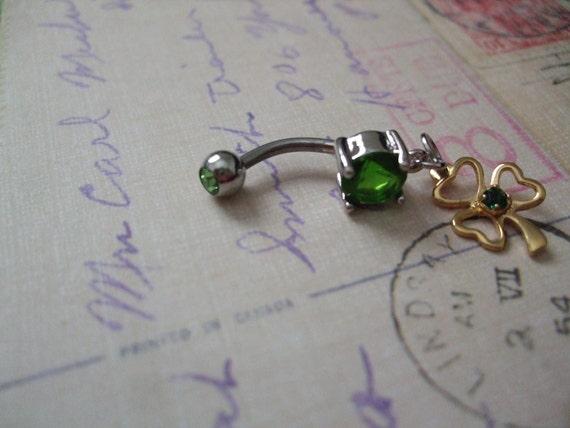 Lucky Shamrock Belly Button Ring