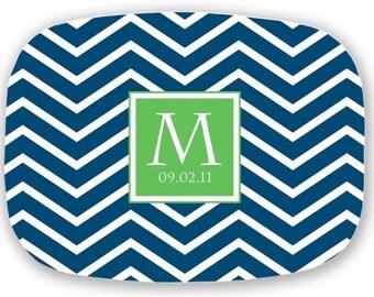 Personalized Platter Monogram Tray Custom Dinner Plate Melamine Tray Chevron Design - Choose your Colors